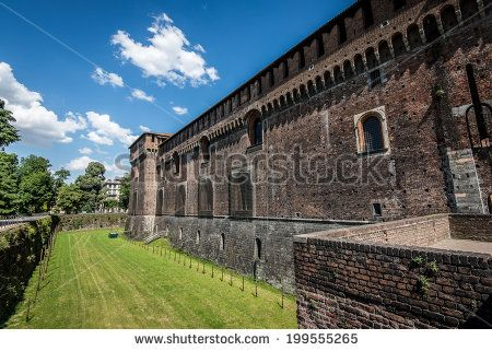 Sforza castle Milan - moat - stock photo