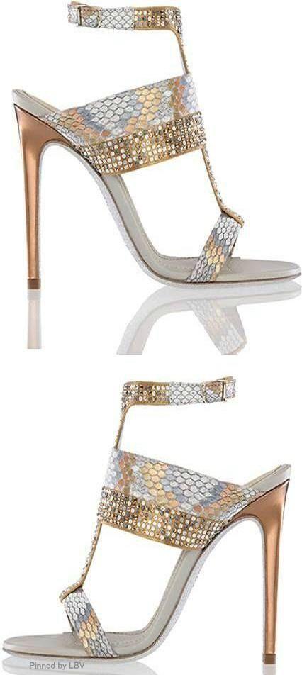 René Caovilla ~ Bronze-Gold Metallic Sandals 2015