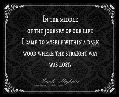 In the middle of the journey of our life, I came to myself within a dark wood...~Dante Alighieri, the Inferno