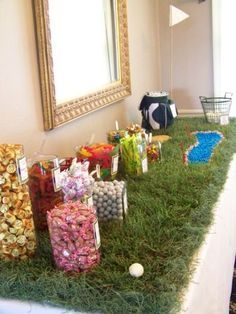 Golf themed wedding favor candy buffet.  See more golf wedding favor ideas at one-stop-party-ideas.com