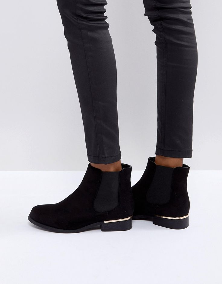Truffle Collection Metal Trim Flat Chelsea Boot - Black ...