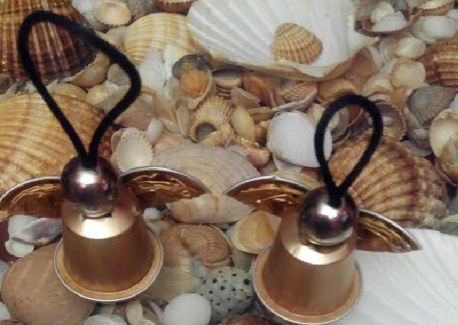 #Ángeles de #Navidad con cápsulas nespresso de café #christmas #crafts #manualidades #navidad