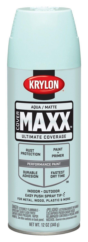 Krylon K05357302 ColorMaster Aqua Matte Spray Paint, 12 OZ