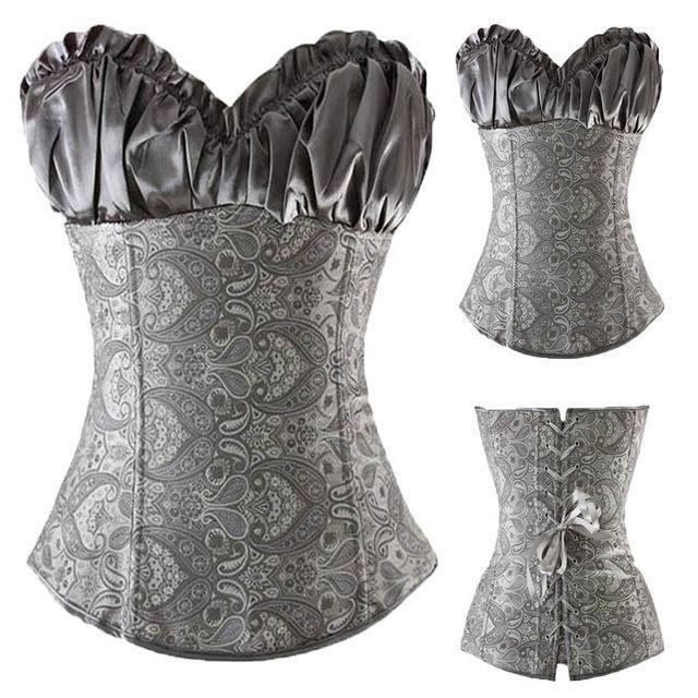 Women New Overbust Vintage Elegant Fancy Dress Waist Trainer Party Corsets Black
