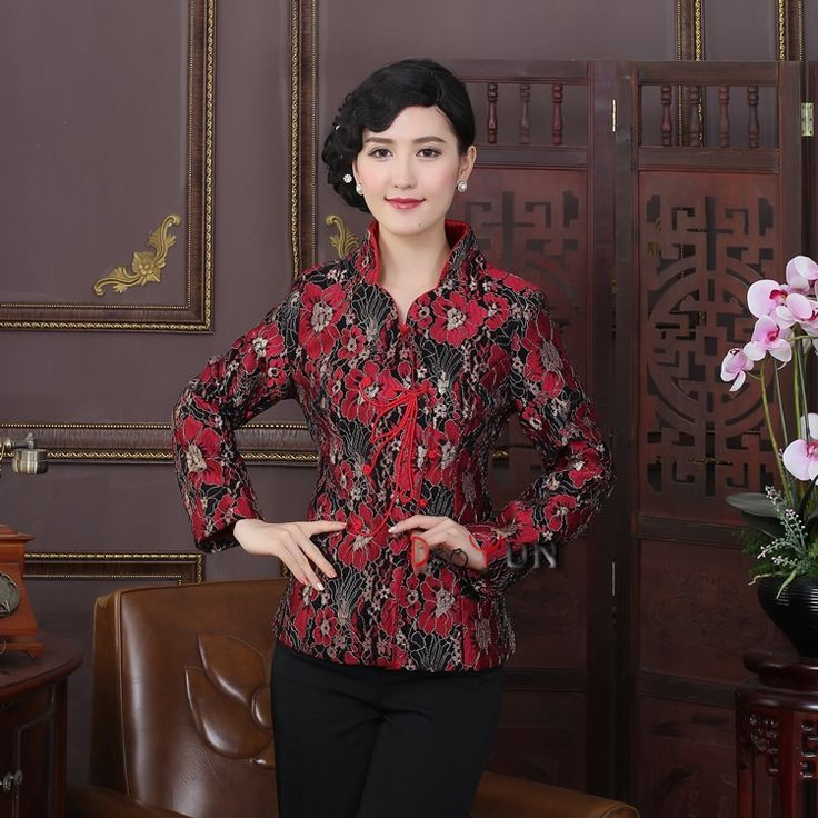 Frog Button Attracting Jacquard Chinese Jacket - Claret - Chinese Jackets & Coats - Women