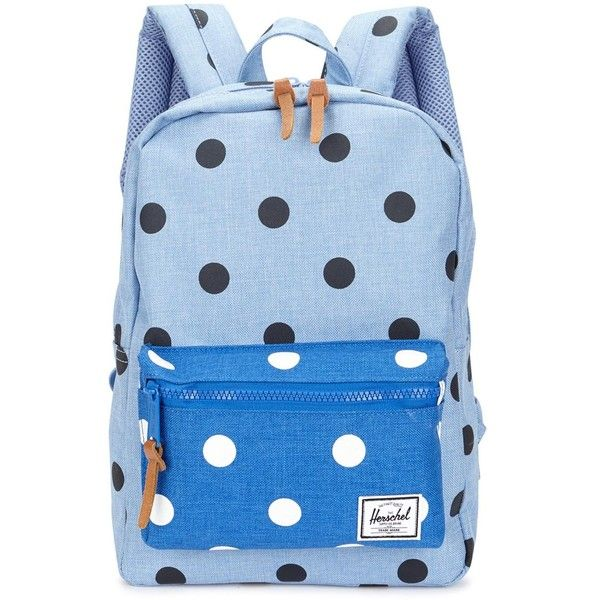 Womens Kidswear Herschel Supply Kids Settlement Blue Polka-dot... ($57) ❤ liked on Polyvore featuring bags, backpacks, canvas zipper bag, zip bags, canvas knapsack, herschel supply co backpack and polka dot canvas backpack