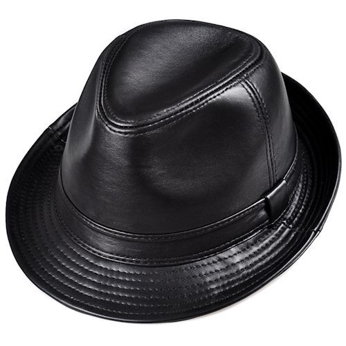 Classic Black Sheepskin Leather Dress Fedora Hats for Men M L XL SKU-159054