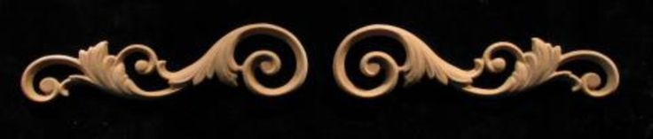 Wood Onlay - Wide -  Volutes #1 - Left and Right Facing Pair