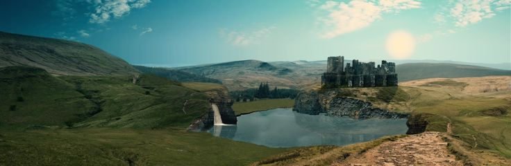 Matte-painting landscape for a uni project, created in Photoshop, using almost 50 images of my own photography.