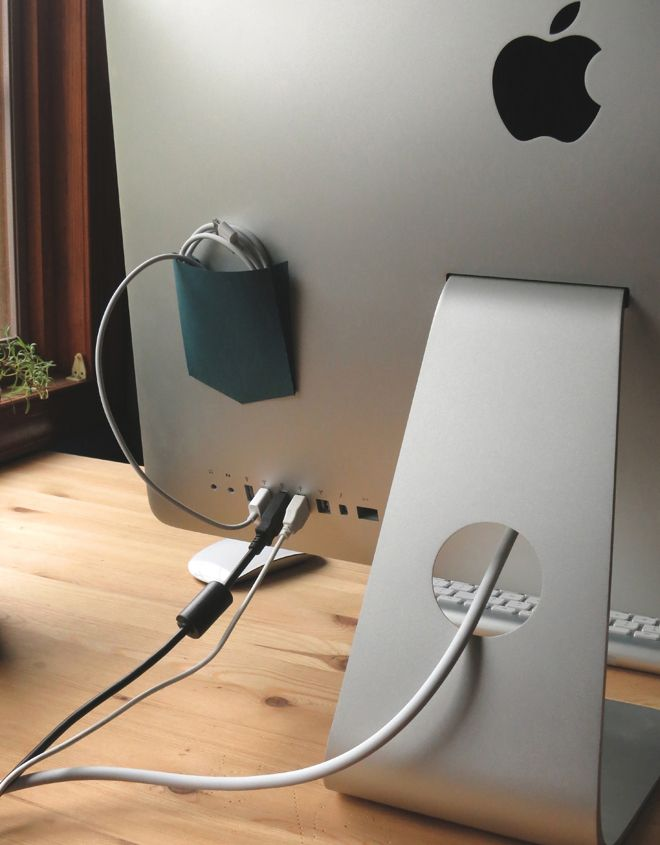 DIY - neat idea - cord pocket - from  Easy DIY Projects - we wish we thought up - Photo: Timothy Wikander