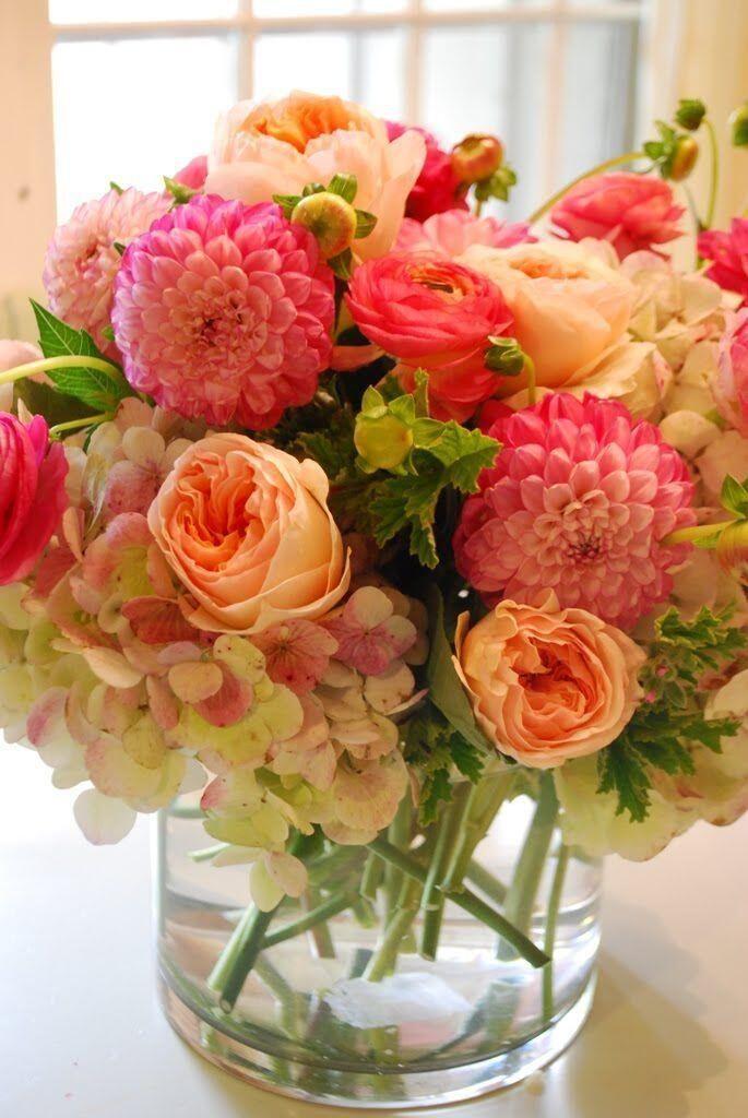 Roses, hydrangea, dahlia & ranunculus. I love this! beautiful #flowers #garden