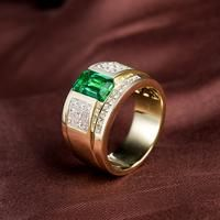 Men's Luxury Natural Colombia Emerald Wedding Ring Solid 14K Yellow Gold Princess Diamond