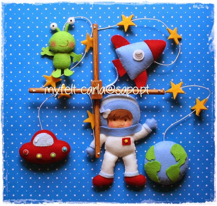 Space themed felt mobile