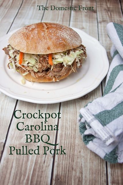 This Crockpot Pulled Pork Barbecue with mustard and vinegar is an easy crockpot recipe for Carolina style barbecue pork.