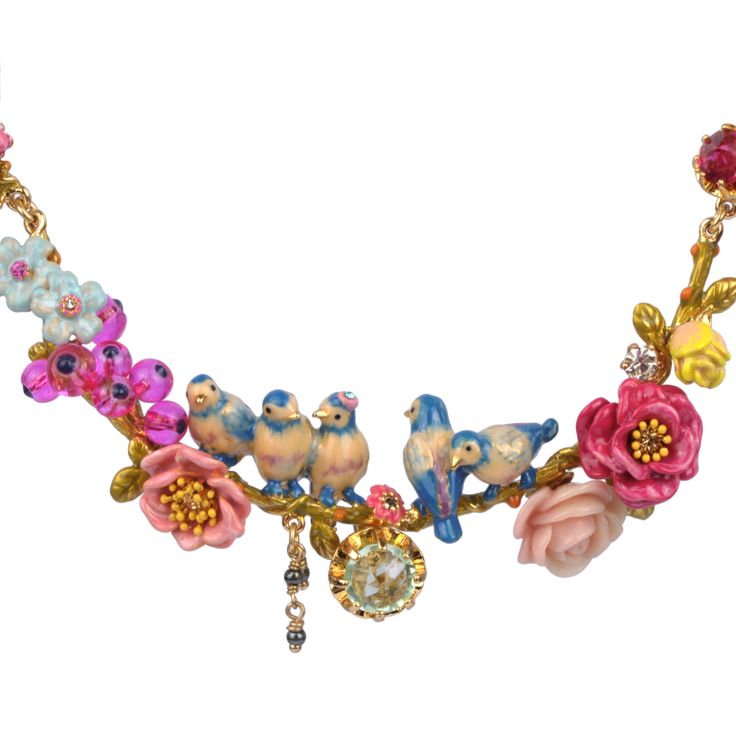 Collection Jardin d'Amour http://shop.lesnereides.com/necklaces/2891-double-necklace-with-two-couple-of-tits-on-a-very-flowered-branch-3700377792474.html