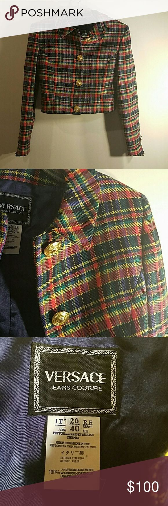 Selling this Versace Couture Plaid Cropped Blazer on Poshmark! My username is: spoiledbratenvy. #shopmycloset #poshmark #fashion #shopping #style #forsale #Versace Jeans Couture #Jackets & Blazers