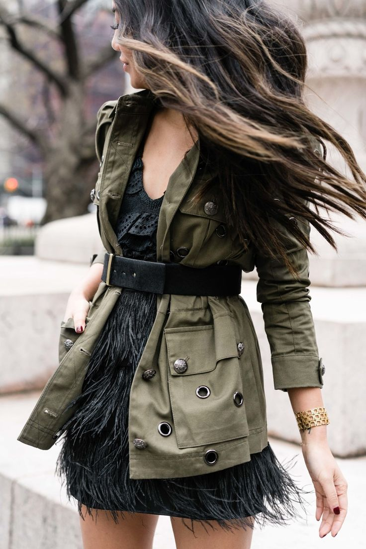 Spring Feels. Utility Jacket with a black feather skirt.