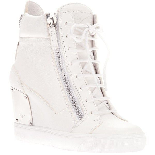 Giuseppe Zanotti Design zip wedge hi-top trainer (1 065 AUD) ❤ liked on Polyvore featuring shoes, sneakers, giuseppe zanotti, wedge sneakers, wedges, hi top wedge sneakers, white wedge shoes, white sneakers, leather sneakers and wedge shoes