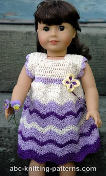 FREE crochet pattern for an American Girl Doll Wisteria Chevron Dress by ABC Knitting Patterns.