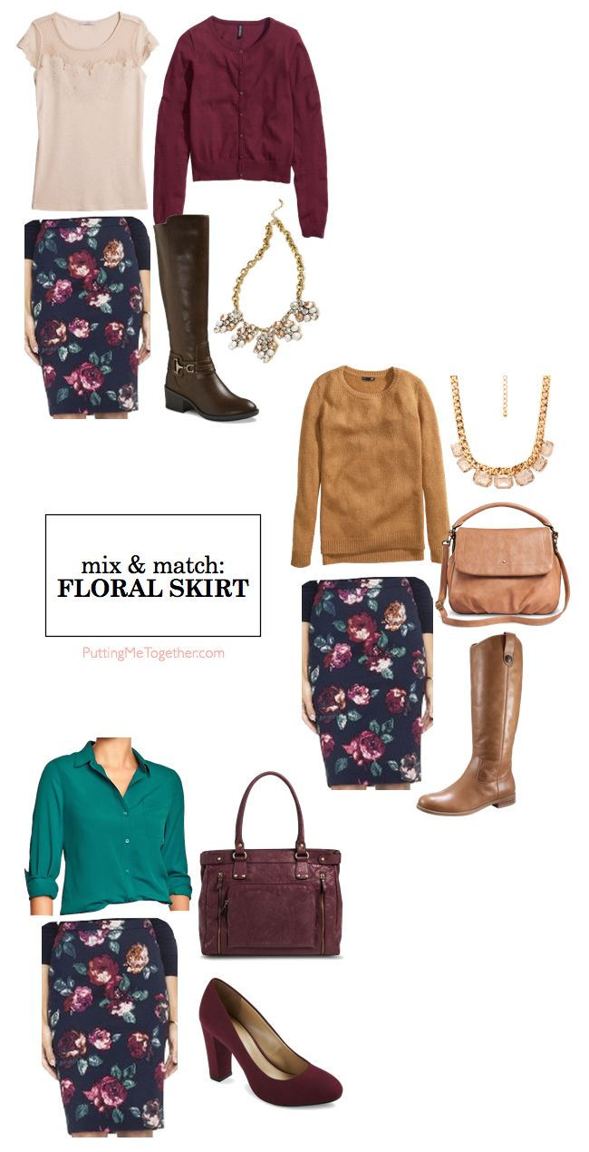Putting Me Together: Mix and Match: Floral Skirt & Color Choices
