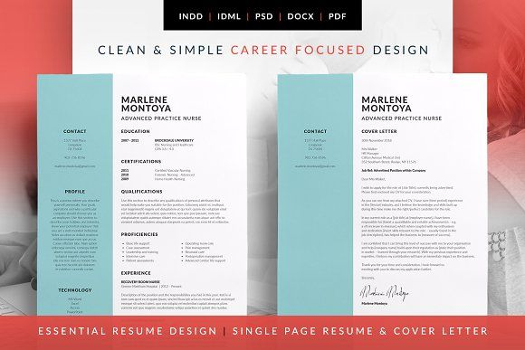 Essential Resume - Marlene by bilmaw creative on @creativemarket