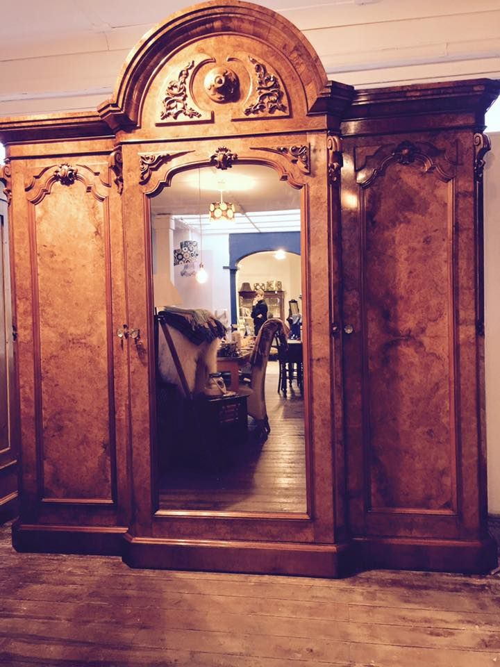 robably the most stunning Victorian Walnut Triple Breakfront Wardrobe we've ever seen.  Exquisite veneers, double hanging space with central draws and linen slides. It really has it all including a stunning dressing table too!
