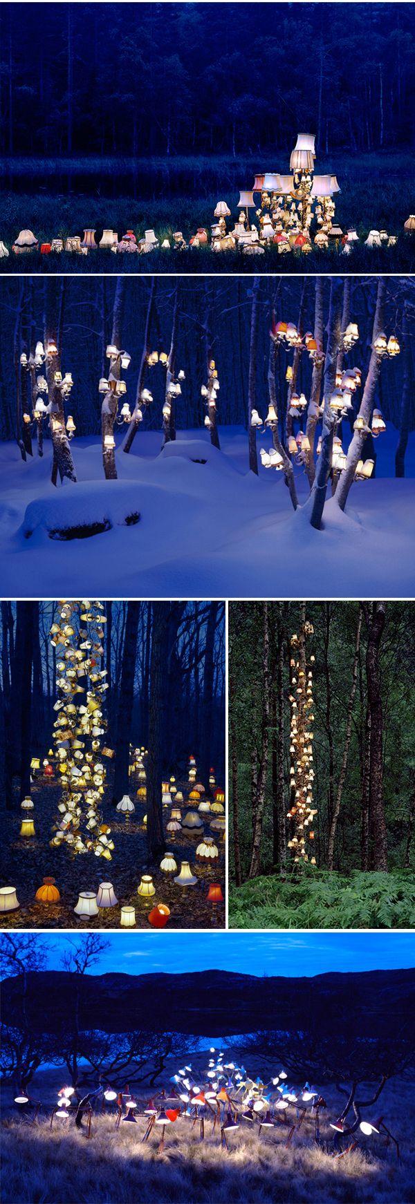 Outdoor lamp art arranged and photographed by Norwegian artist Rune Guneriussen