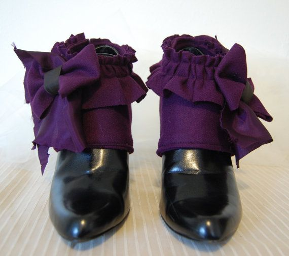 Purple Victorian steampunk fashion spats made from by hhfashions, $25.00