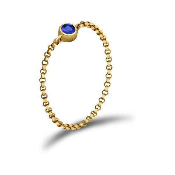 September birth stone sapphire chain ring ($83) ❤ liked on Polyvore featuring jewelry, rings, sapphire rings, bezel set ring, round ring, chains jewelry and sapphire jewellery