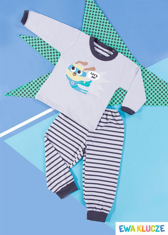 EWA KLUCZE, szara piżamka z długim rękawem COMICS, ubranka dla dzieci, EWA KLUCZE, COMICS pijamas, baby clothes, Детская одежда