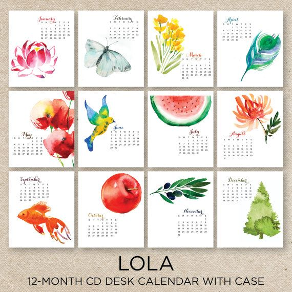 Calendar Cover Design 2014 : Lola watercolor desk calendar with case by