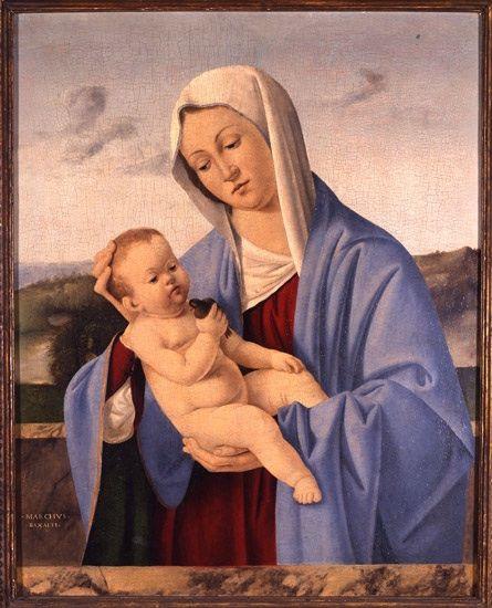Marco Basaiti (veneziana, ca. 1480-ca. 1530)  Madonna col Bambino , ca. 1510-1512  Tempera su tavola  24 5/8 x 19 1/2 pollici  Georgia Museum of Art, Università della Georgia