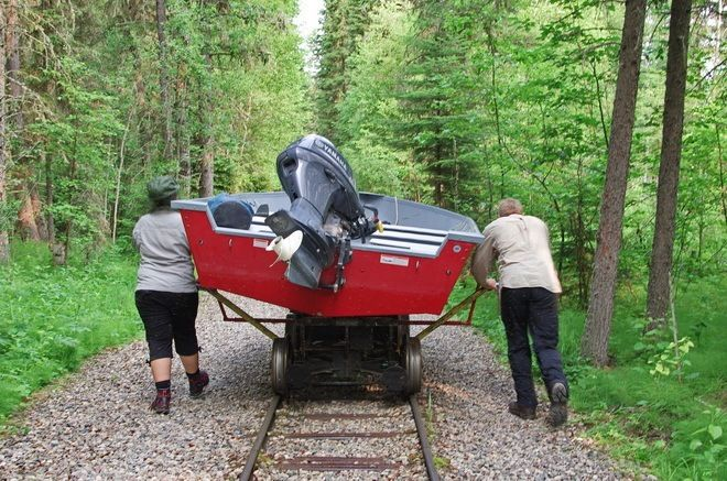 A 1 km rail portage in Prince Albert National Park that ends on Kingsmere Lake - Saskatchewan - then boat and finally hike to Grey Owl's Cabin