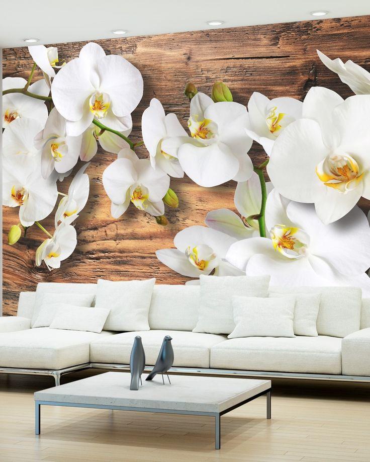 """Fototapete, Vlies Fototapete """"Forest Orchid"""". Elegantes Blumenmotiv für moderne oder rustikale Wohnräume. Hauptmotive der Fototapete: Natur, Blumen, Pflanzen, Holz, Orchideen."""