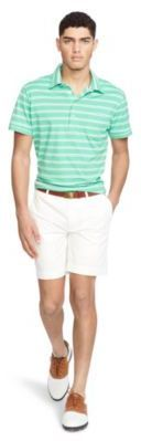 Ralph Lauren Striped Lisle Polo Shirt South Hampton Green/White M