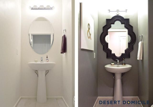Strong color and a bold mirror make this small powder room pop!