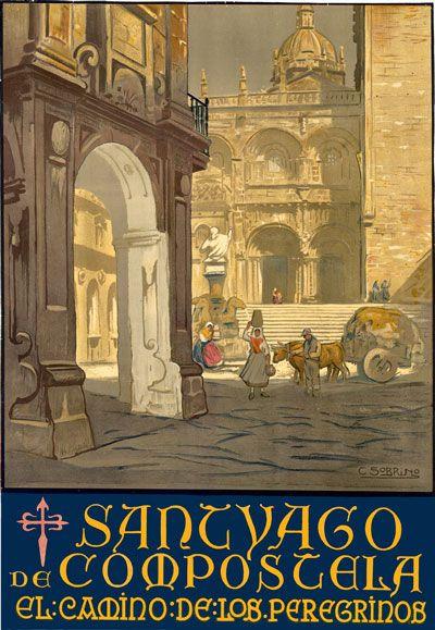 Vintage Santiago de Compostela Spain Spanish Travel Poster