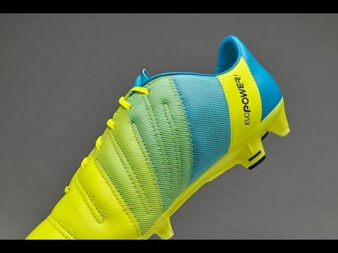 Puma evoPOWER 1.3 Leather FG with Safety Yellow and Atomic Blue