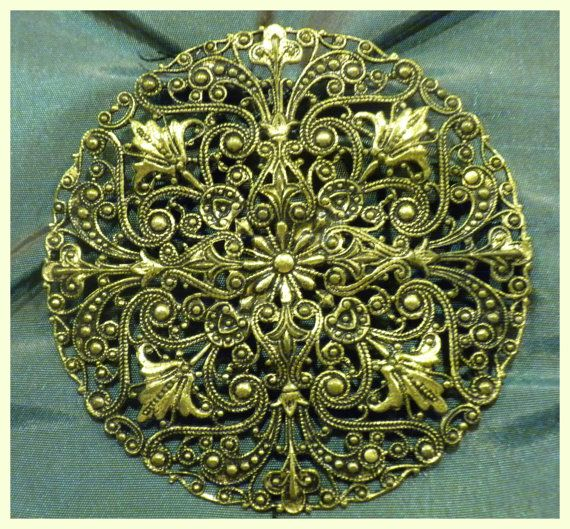Vintage Large Round  Filigree Brooch or Pin by FineThingsShop