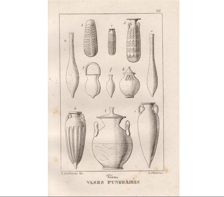 1889 FUNERAL VASES ANTIQUE engraving - original antique print - urn funerary…