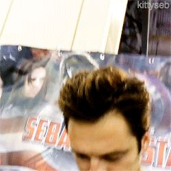 """""""Did Bucky ever get his backpack back?"""" Sebastian Stan, Bucky Barnes   Tumblr// NO!!! HE NEEDED THAT BACKPACK!!!!"""