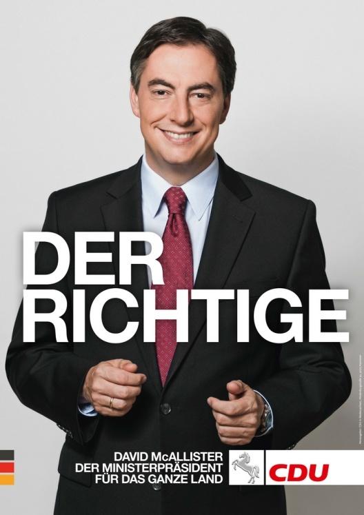 Cartel de David McAllister (CDU) para las elecciones regionales de Baja Sajonia, Alemania 2013.