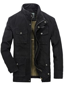 Ericdress Solid Color Plus Size Multi Pocket Casual Men's Jacket