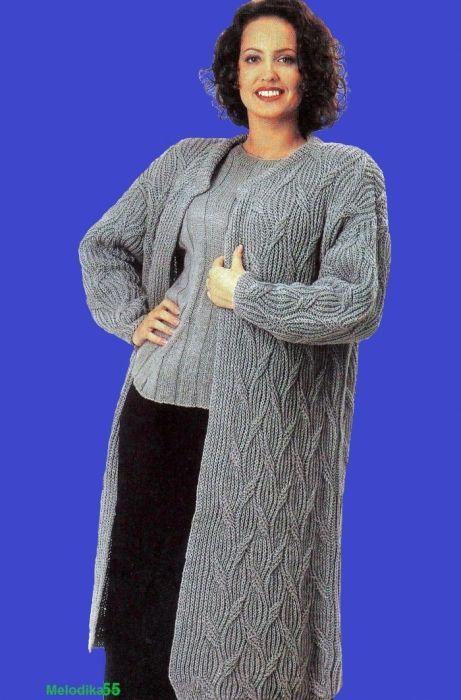вязаный кардиган для полных женщин вязание спицами вязаный