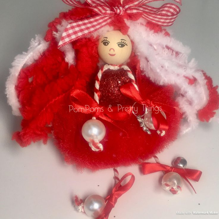 Red Fairy Doll, Cutie Tutie, Fairy, OOAK Fairy Doll, Fairy with Tutu, Fairy with Bell, Girly Room Decoration, Christmas Fairy, Girly Gift by PomPomsPrettyThings on Etsy