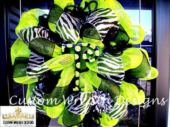 Lime Green and Black Zebra Wreath (with hand painted letter of choice) on Etsy, $85.00