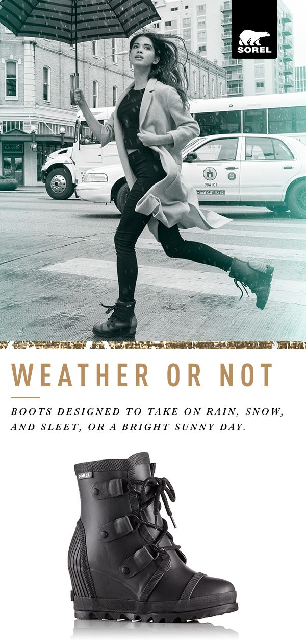 Shop SOREL's collection of rainy day essentials. Proof that you don't need to sacrifice style when it rains, the Joan Rain collection is fully waterproof and endlessly wearable. Inspired by our iconic Joan boot, it's equal parts elegant and tough, making it a new favorite for even the soggiest of days.