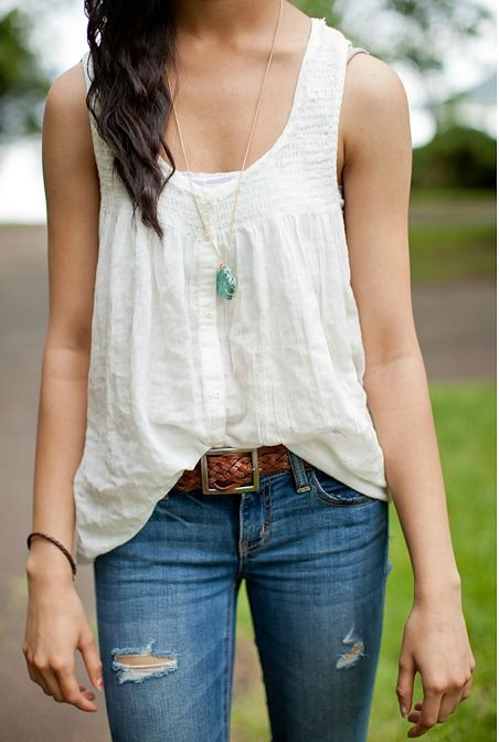 simple summer outfit - jeans and a white tank top | woman's fashion | Pinterest | Simple Summer ...