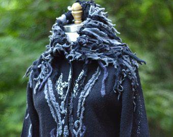 Sweater COAT, grey black art to wear coat, goddess festival Coat, boho fantasy, OOAK sweater coat, upcycled sweaters.Size XL. Ready to ship