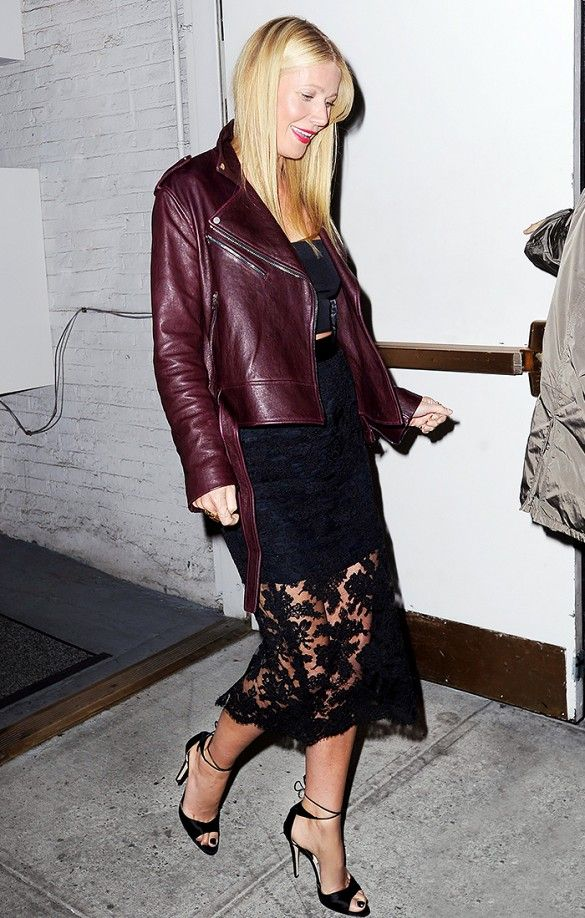 Gwyneth Paltrow wearing Monique Lhuillier lace skirt and burgundy moto-jacket.